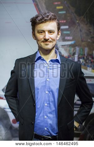 KRAKOW, POLAND - FEB 9, 2016:  Adam Malysz (Polish former ski jumper and current rally driver. One of most successful ski jumpers of all time) wax figure of Polonia Wax Museum at Main Market Square.
