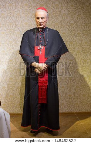 KRAKOW, POLAND - FEB 9, 2016: Stefan Wyszynski ( Polish prelate of the Roman Catholic Church) wax figure of Polonia Wax Museum at Main Market Square.
