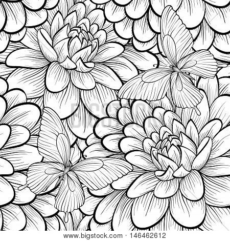 Beautiful monochrome black and white seamless background with flowers dahlia. Hand-drawn contour lines and strokes.