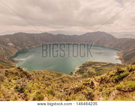 Quilotoa Lagoon Ecuador South America It Is A 3 Km Wide Water-Filled Caldera And The Most Western Volcano In The Ecuadorian Andes