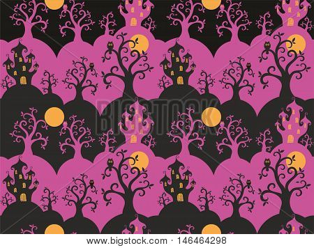Halloween seamless pattern  with the image of a fairytale castle and old trees