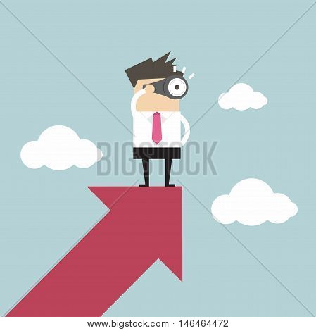 Businessman looks through a telescope on growth arrow
