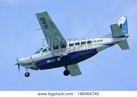 CHIANGMAI THAILAND -OCTOBER 3 2012: HS-KAB Cessna Grand Caravan 208B of Kanair. landing to Chiangmai airport flight from Mae hong son thailand.
