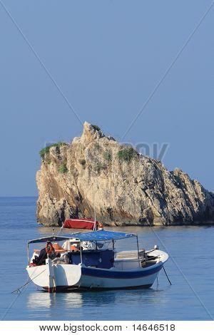 Fishing boat in the Ionian sea Greece