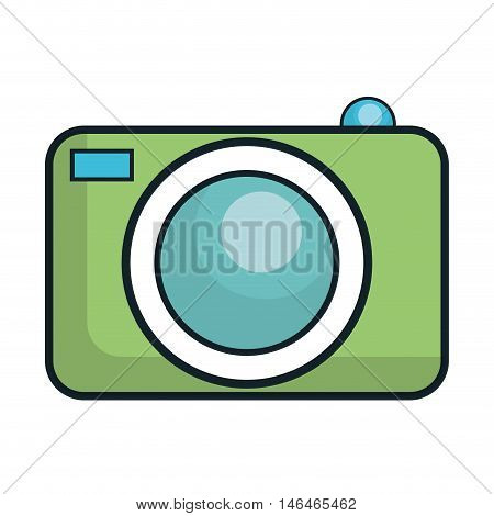 green cartoon photographic camera technology device. vector illustration