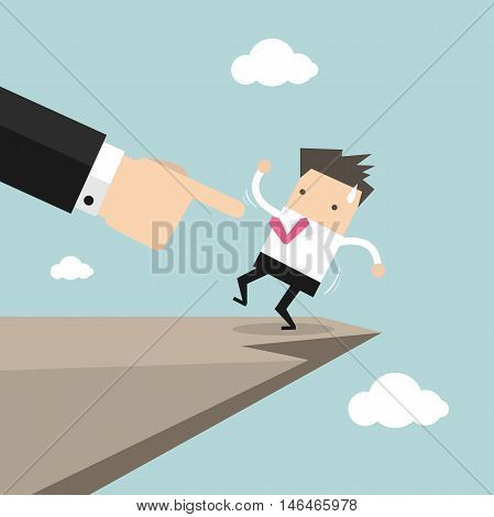 Boss hand pushes businessman to make him fall from cliff vector