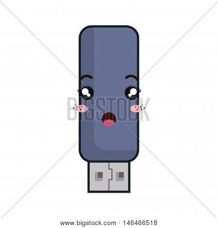usb flash drive. kawaii cartoon with surprise face. vector illustration
