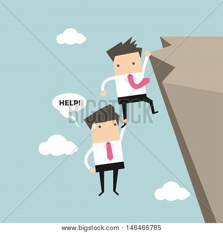 Businessman help friend on the cliff vector