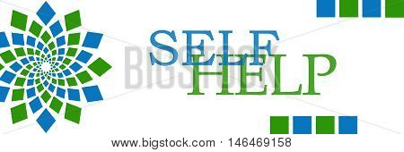Self help text written over green blue background.