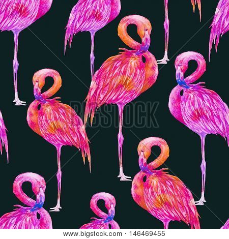Watercolor pink flamingos, exotic birds, seamless tropical pattern background