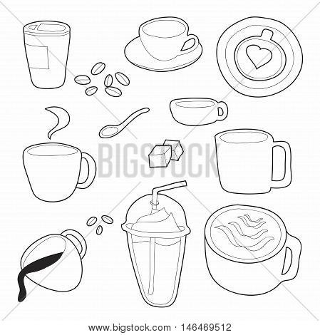 Coffee doodle vector set on white background vector
