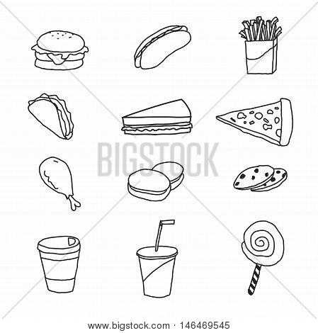 Vector set of fastfood on white background