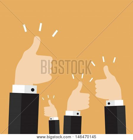 Many thumbs thumbs up. success vector illustration