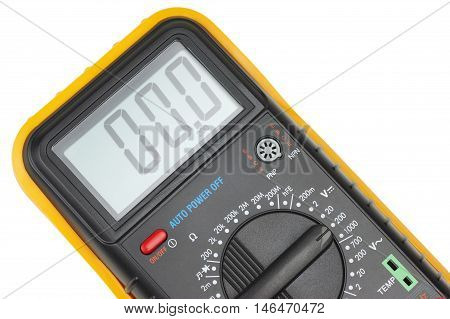 Measuring device close-up. Object is isolated on white background without shadows.