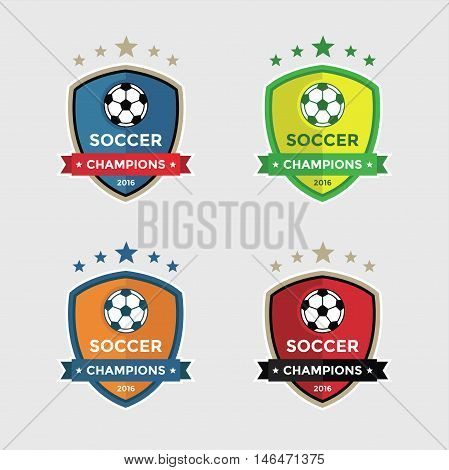 Set of Soccer or Football Champions Badges