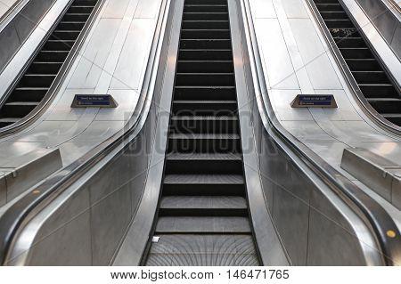 Underground Escalator Conveor in Subway Train Station