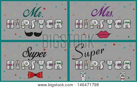 Cards with iFunny inscriptions about hipsters. Vintage font. Mr. Hipster. Super Hipster. Mrs. Hipster. Gray retro letters with colorful ties. Pink numerals. Cartoon hipster hands. Vector illustration