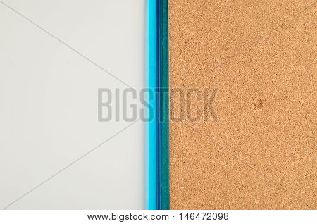 A white board and a cork board in one blue frame