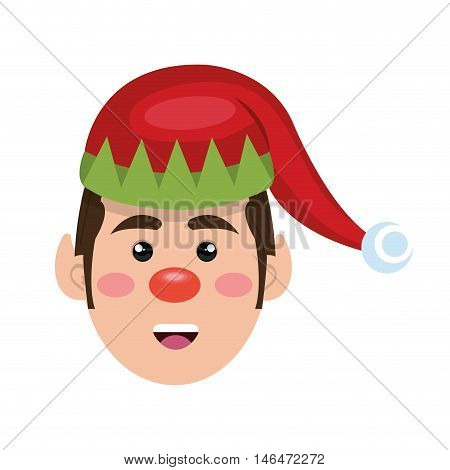 santa helper elf cartoon with red and green hat. christmas symbol. vector illustration