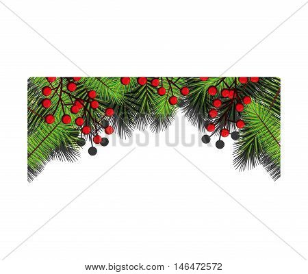 christmas season floral decoration with green pine leaves and red holy fruit. vector illustration
