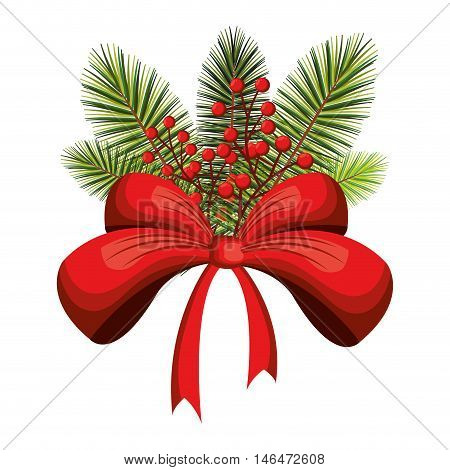 christmas season floral decoration with green pine leaves and red ribbon bow. vector illustration