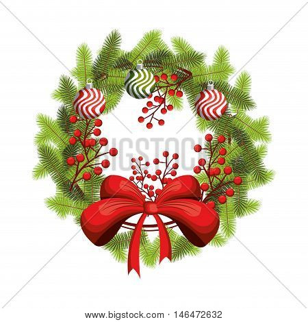 christmas season. wreath decoration with balls pine leaves and red bow ribbon. vector illustration