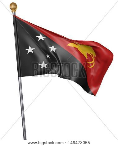 National flag for country of Papua New Guinea isolated on white background, 3D rendering