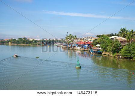 Thu Bon river near the town of Hoi An early, sunny morning. Vietnam