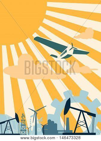 Energy and Power icons set . Sustainable energy generation and heavy industry. Vector illustration. Sun rays backdrop with clouds and retro airplane