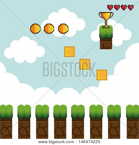 display game pixel interface. cubes trophy and coins. vector illustration