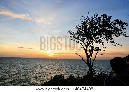 A view of sunset at the sea with the shadow of tree and blue sky with partly clouds in Chanthaburi Thailand.