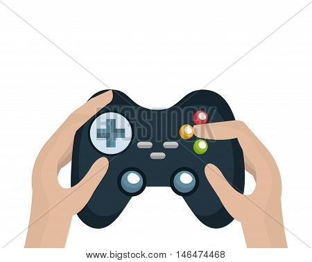 hand holding a control player videogame with navigation buttons and joystick. vector illustration