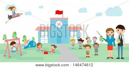 Kids go to school, back to school template with kids, teacher and students, kids and playground, Vector Illustration.