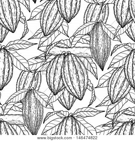 Graphic cocoa fruits on the branches. Hand drawn exotic cacao plants. Vector seamless pattern. Coloring book page design for adults and kids