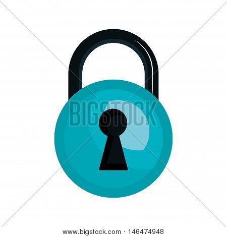 closed blue lock with keyhole. security safety element. vector illustration