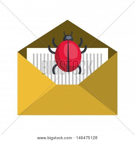 open yellow mail envelope with red ladybug insect. letter correspondence. front view. vector illuatration