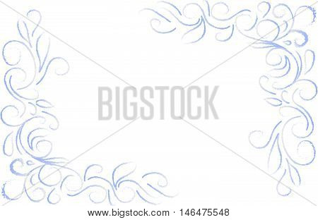 blue abstract floral corners on a white background, in the style of frost lace on winter window. Hand drawn vector stock illustration