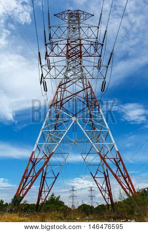 The high voltage voltage tower sky background.