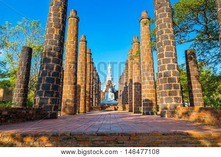 The Grand Hall of Wat Maha That Temple in Sukhothai Province Thailand - a UNSCO World Heritage Site