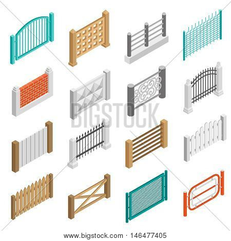 Urban and farmland real estate boundary fences elements from wood brick and concrete isometric set isolated vector illustration