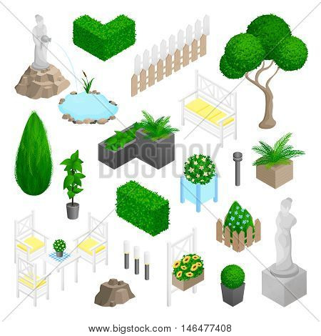 Garden park landscape isometric elements set with plants flowers furniture and statues isolated on white background vector illustration