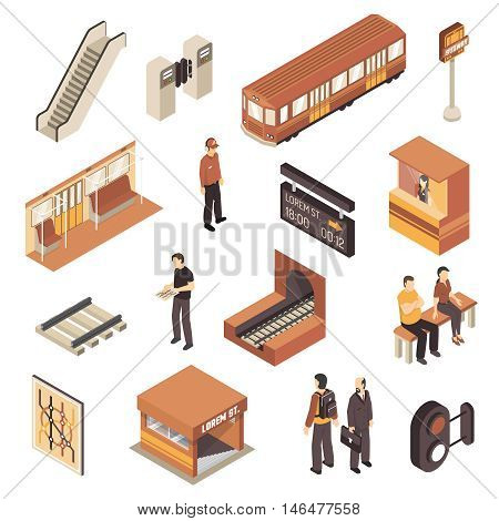 Subway rapid transit elements isometric collection with metro station entrance railway map and escalator isolated vector illustration