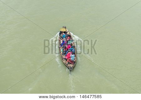 People Are Crossing River