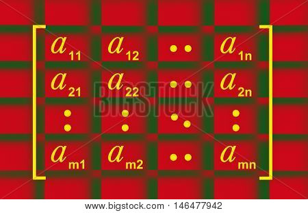 Illustration showing the general matrix form in linear algebra