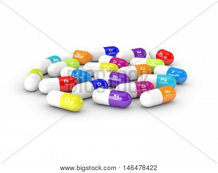 3D Rendering Of Dietary Supplements Isolated Over White