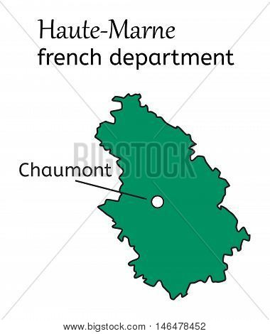 Haute-Marne french department map on white in vector