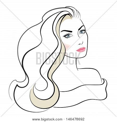 Face of beautiful woman with long blond hair and blue eyes.