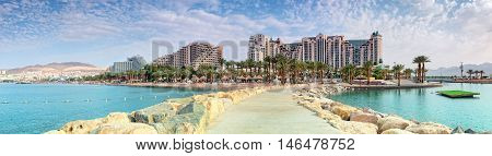 Panoramic view on the central beach of Eilat - famous resort and recreational city in Israel