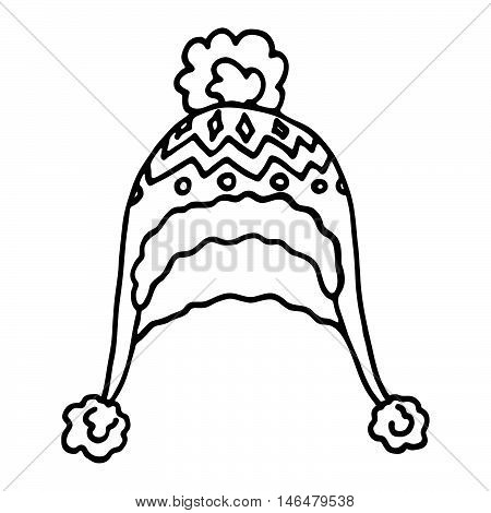 Knitted winter cap on white background. Vector illustration...