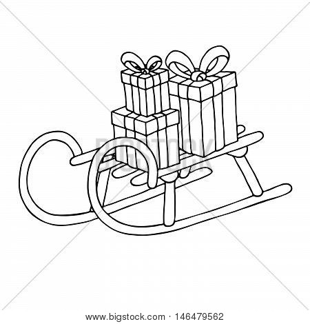 Sled with gift boxes isolated on white background. Vector illustration